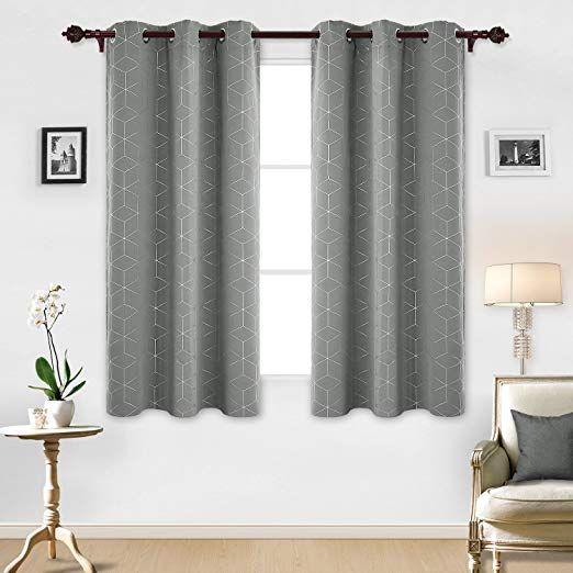 Deconovo Sliver Diamond Foil Print Blackout Curtains Room