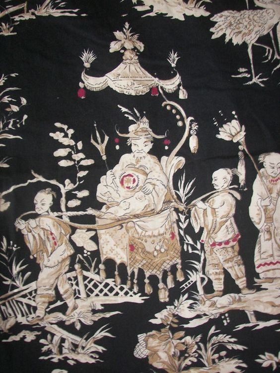Vintage Asian Oriental Chinoiserie Figural Pictorial Black Toile ...