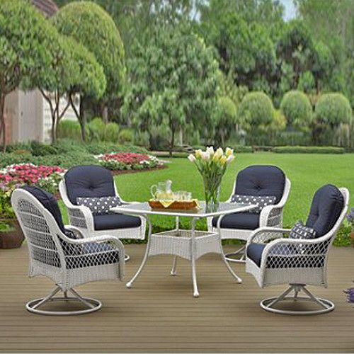 Patio Dining Set 5 Piece White Wicker Outdoor Furniture And Table