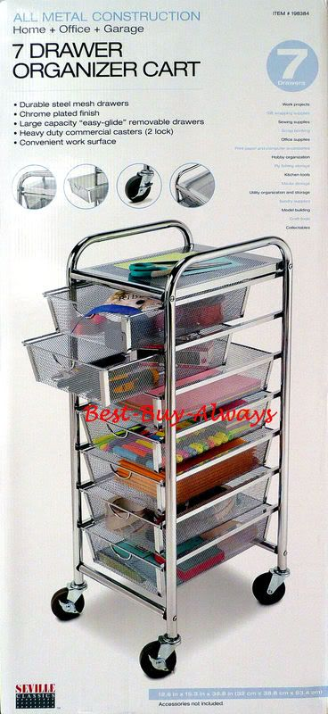 7 drawer rolling organizer with table all metal mesh for Rolling craft table with storage