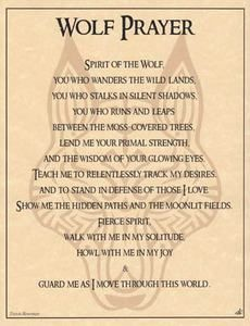 WOLF PRAYER - POSTER Wicca Pagan Witch Witchcraft Goth BOOK OF SHADOWS: