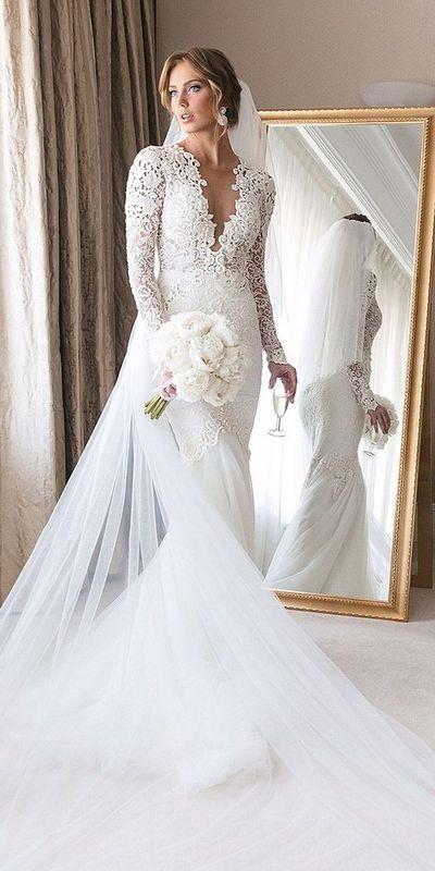 Cheap Mermaid Sheer Long Sleeve Lace Wedding Dresses