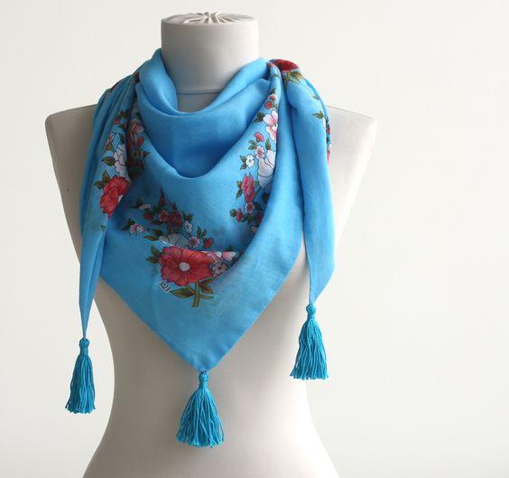 Turquoise blue floral traditional turkish yemeni scarf