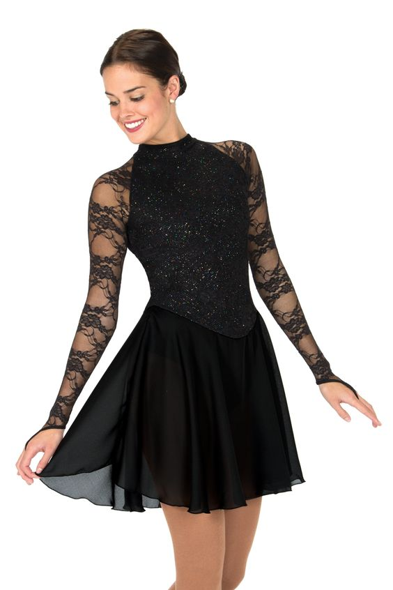 A stunning black lace dress with long lace sleeves. A glitter lined body adds shine to make it a spectacular choice.