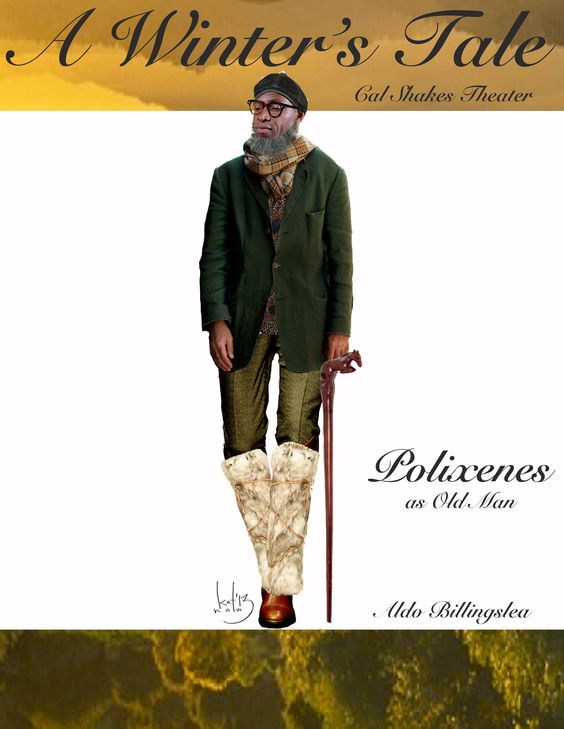 Katherine Nowacki's costume sketch of Polixenes (in disguise!) in A Winter's Tale. Actor: Aldo Billingslea