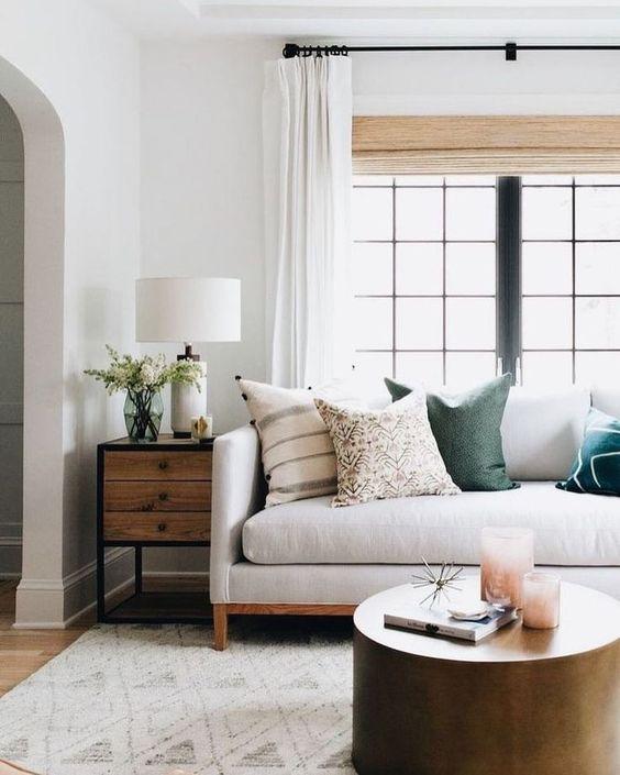 boho modern neutral family room decor