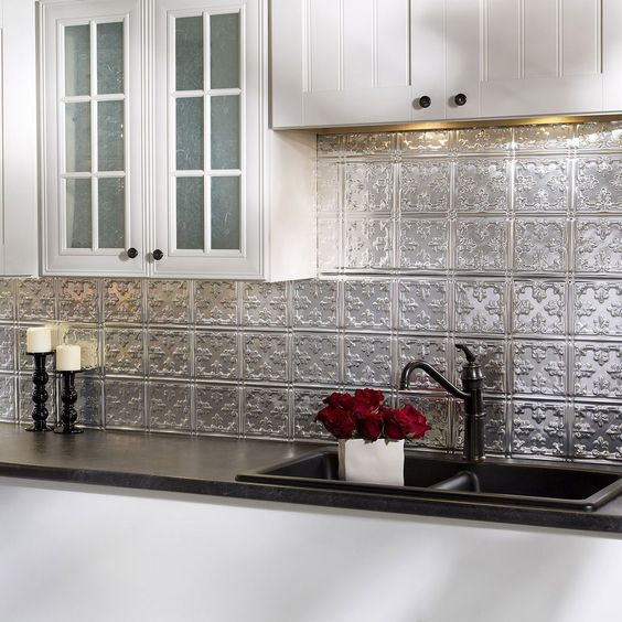 Fasade Traditional Style 10 Brushed Aluminum 18 In X 24: Backsplash Panels, Scissors And Tins On Pinterest
