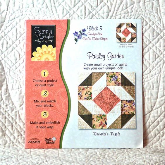 PAISLEY Garden QUILT BLOCK53 5 Simply My Style Bachelors Puzzle 4-oz