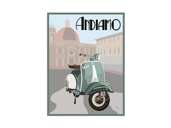 This print is going to be framed and used in the coffee shop. Giclee Print: Vintage Vespa in Italy