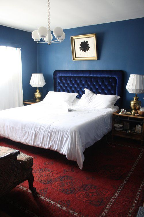 Blue Bed Room Bedroom Red Rug Pakistani Persian Headboard Chandelier White Walls Monochrome Gold Lamps Inkblot Ink B White Bedroom Red Rugs Rugs In Living Room