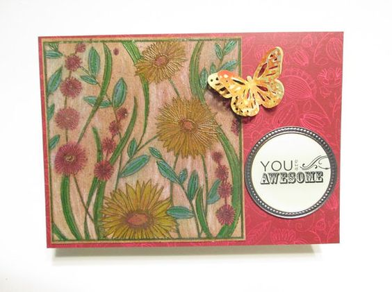 "Handmade Card - Watercolored Floral with Bronze Medallion ""You Are Awesome"" Sentiment"