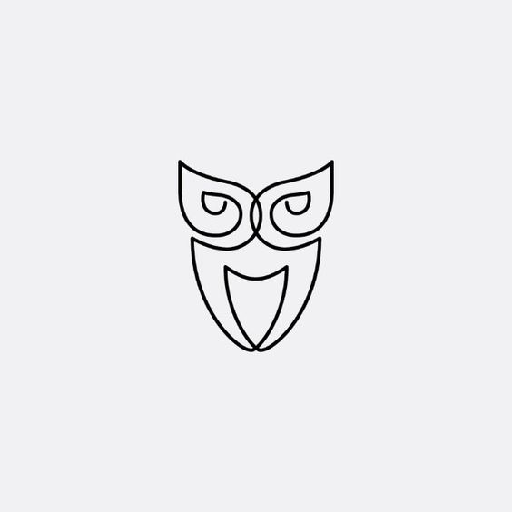 Single Line Symbol Art : Owl line art drawn using a single logo icon
