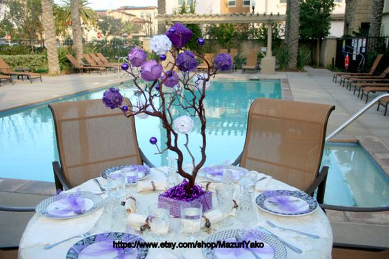 28 Inches Purple Manzanita Tree  I have decorated this 28 Inches Purple Manzanita Tree with decorative purple and white flowers. I have lined the