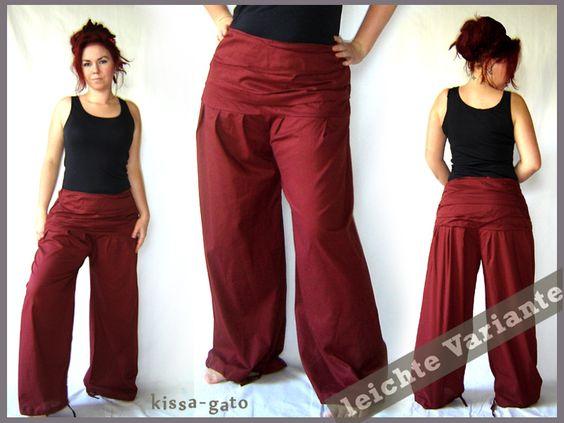 Pantalones Harem - Falten Hose breiter Bund dunkelrot weinrot leicht - hecho a…