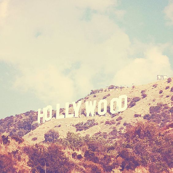 Hollywood photography, Sign, Los Angeles famous hill landmark celebrities stars travel vintage inspired retro blue, Oscars 12x12