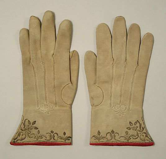 Gloves  Date: late 18th century Culture: French Medium: leather, silk