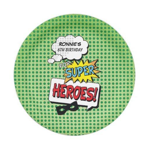 Superheroes Comic Strip Mask Birthday Paper Plates #SuperheroPaperPlates #PaperPlates #ComicPaperPlates #Superheroes