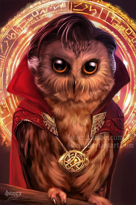 facebookltumblr l instagram l  society6 (prints store) l pinterest doctor strange owl, looking even more bad ass then Benedict Cumberbatch next is as...