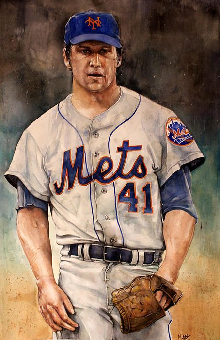 Tom Seaver watercolor by sports artist Michael Pattison.