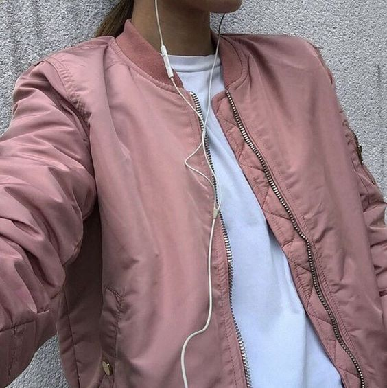 Love this tone in tone bomber jacket, and that pink colour is just fantastic!