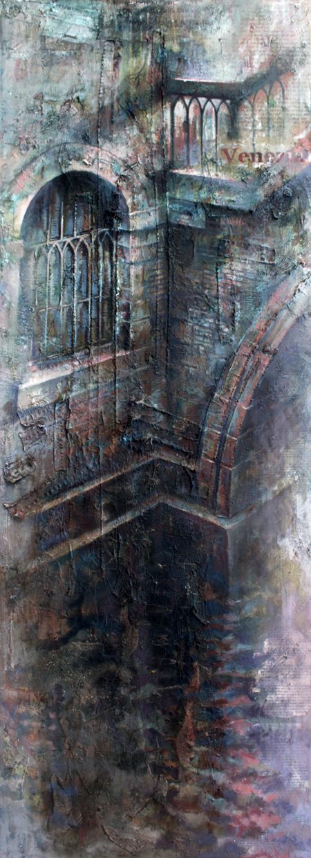 Ian Murphy depicts derelict buildings and often paints/draws on printed material which bleeds through