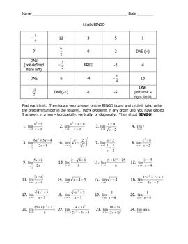 Printables Evaluating Limits Worksheet evaluating limits joke worksheet students solve limit problems evaluate and find their answers in the squares on bingo board first