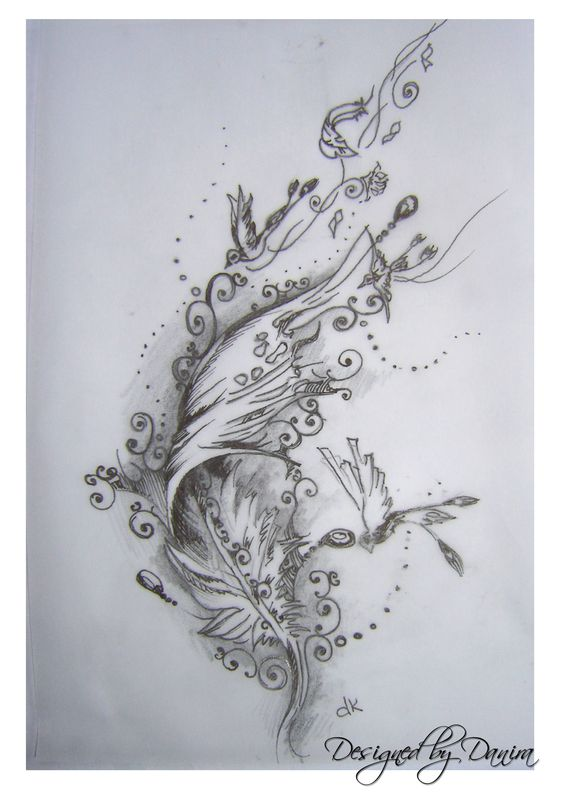 Feather tattoo design: