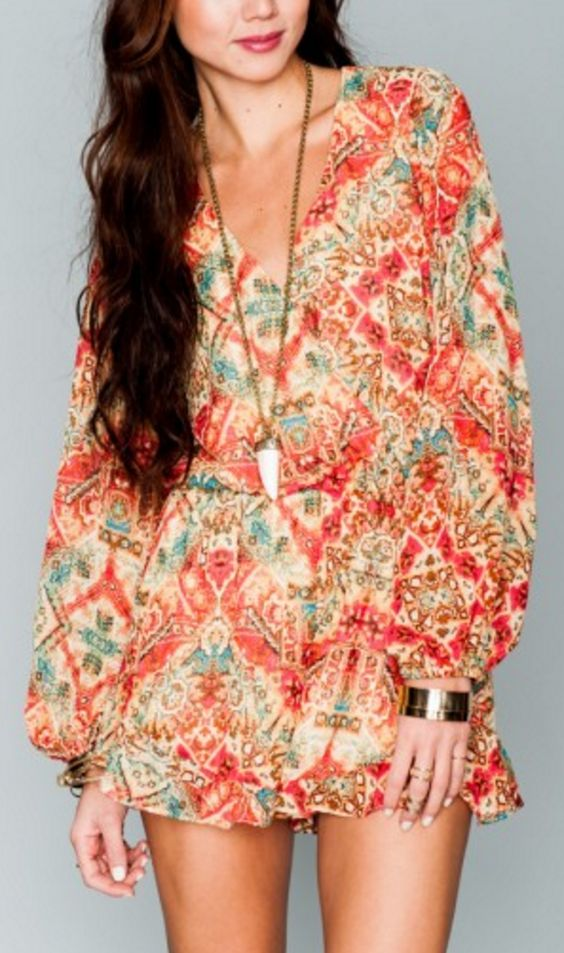 Long Sleeve Billowy Sleeved Surplus Front Romper in Rust/Red/Turquoise Bohemian Print