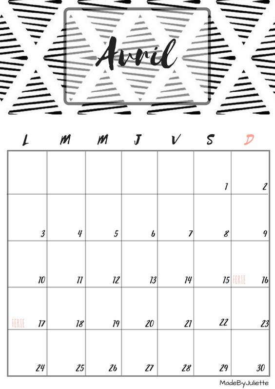 Calendrier avril 2017 imprimes le calendrier pour customiser ton agenda a voir ma vid o - Calendrier lunaire rustica avril 2017 ...