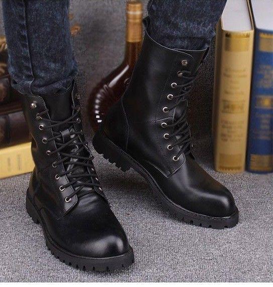 New Handmade Men Military Style Boots, Men Combat Boots, Men Military Boots    Combat boots men, Military boots, Military style boots