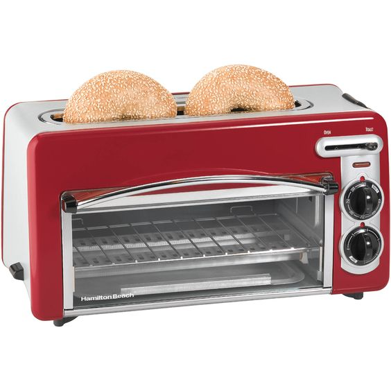 Red 2-Slice Convection Toaster/Broiler Oven and Toaster