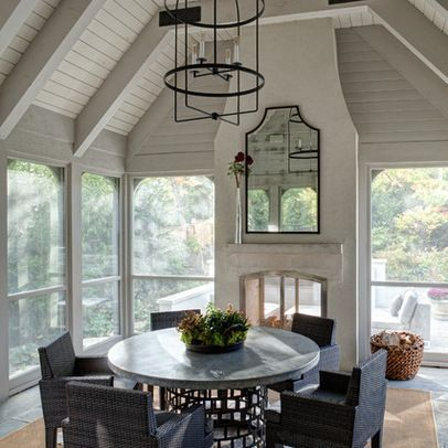 Screened in porch fireplaces and porches on pinterest for Screened in porch with fireplace