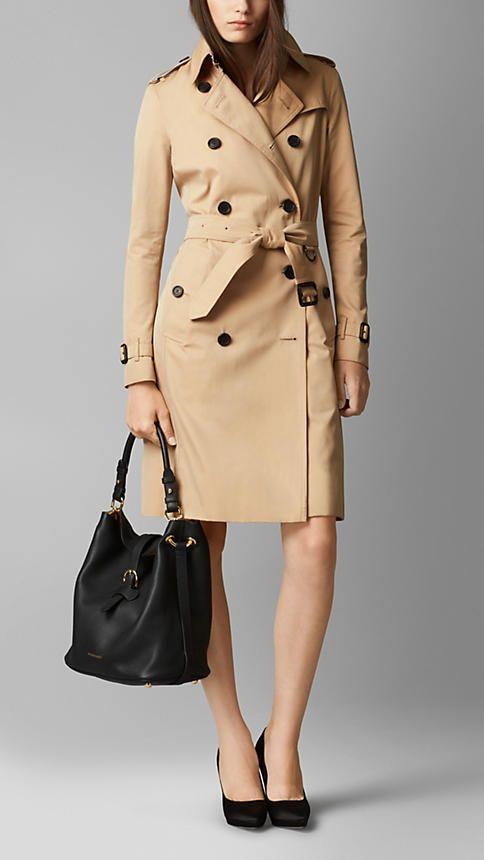 Black Medium Buckle Detail Leather Hobo Bag - Image 2
