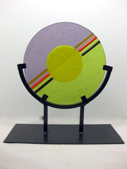 Abstract Art Glass Circular Sculpture Black Wrought Iron Stand Home Office Decor. via Etsy.