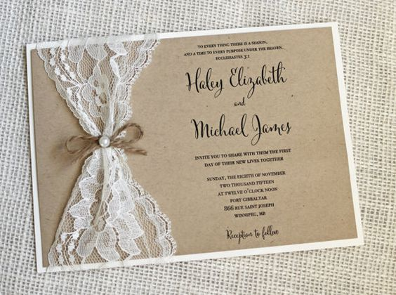 Rustic Wedding Invitation Lace Wedding Invitation Rustic Lace – Etsy Rustic Wedding Invitations