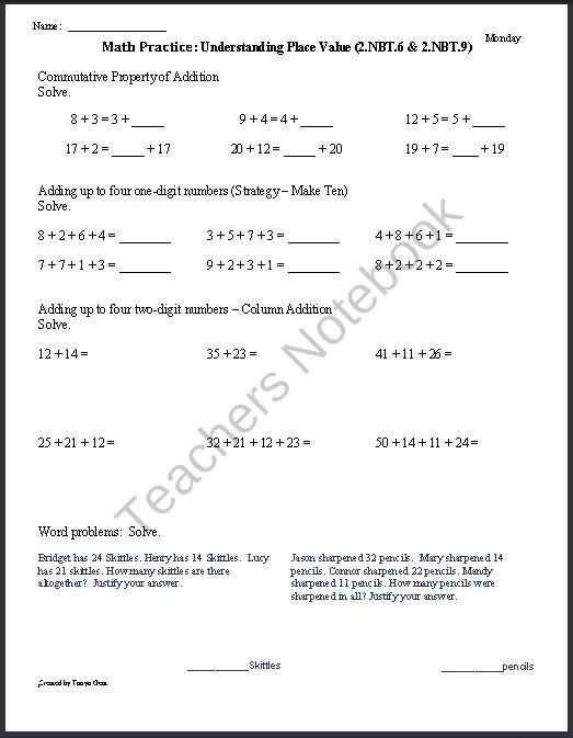 2NBT6 and 2NBT9 Adding up to 4 2digit Numbers and Explaining – Common Core 2nd Grade Math Worksheets