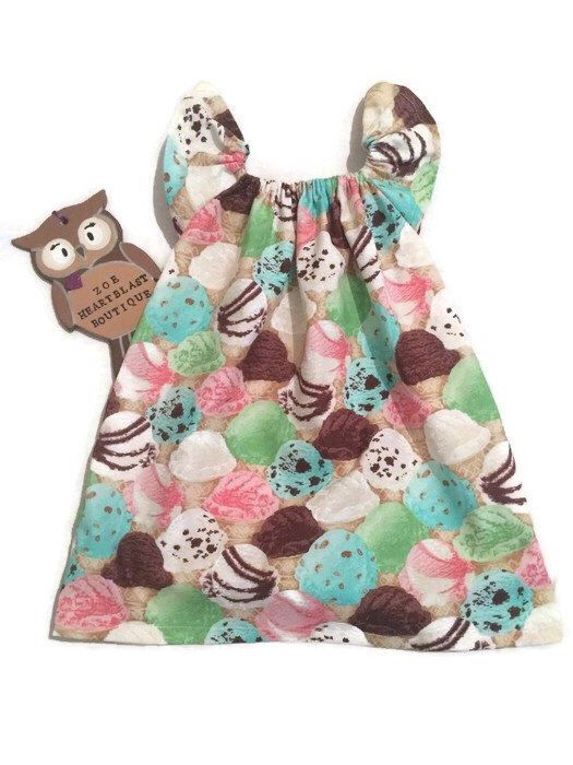 A personal favourite from my Etsy shop https://www.etsy.com/uk/listing/246413746/ice-cream-sundae-dress-girls-summer-cool