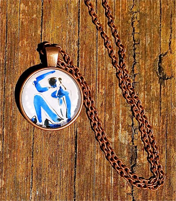 Claude Monet Blue Woman Pendant Art Necklace by TinyBeautifulThing