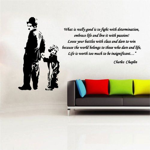 East Urban Home Charlie Chaplin Picture Quote Decal Vinyl Wall Sticker Vinyl Wall Stickers Picture Quotes Wall Stickers