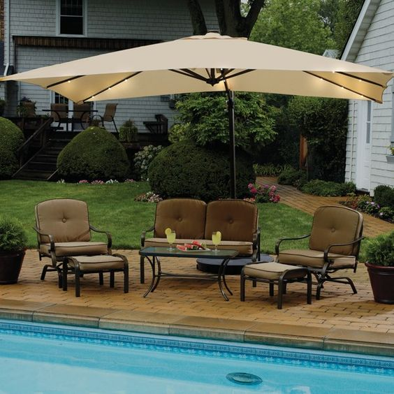 Solar Lighted Rectangular Cantilever Umbrella