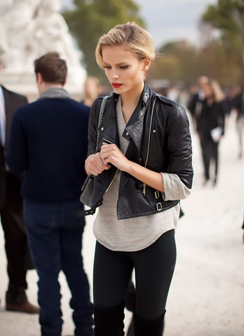 cropped leather jacket and red lips = awesome