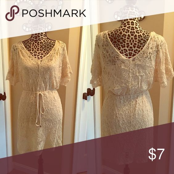 ☀️End of Summer Sale ☀️Tan Lace Dress Cute stylish tan lace dress that ties at waist. Cotton slip underneath. Gently worn still in good condition. Forever 21 Dresses