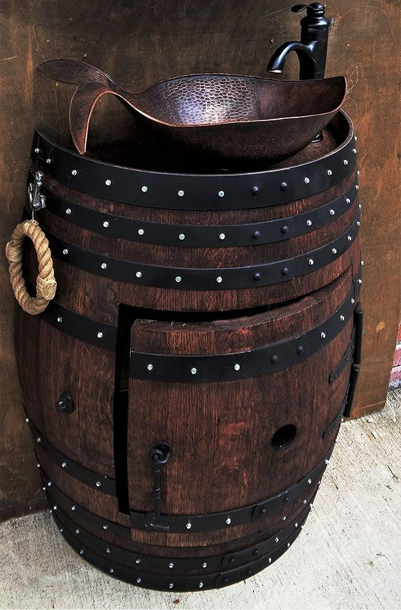 French Oak Half Wine Barrel Handmade Vanity Sink