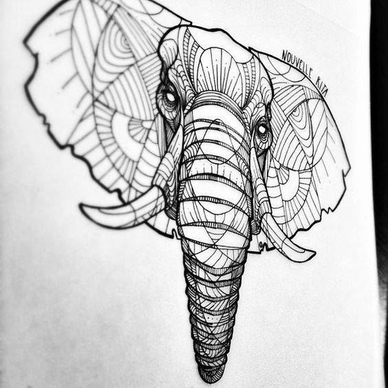 Contour Line Drawing Elephant : Artistic animal tattoos made with exquisitely bold contour