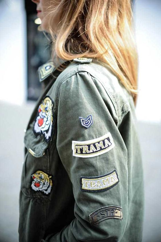 Stradivarius badge detail khaki jacket.  Kirsty Dale - Executive Fashion and Beauty Director  What ELLE Wears, Work Style.