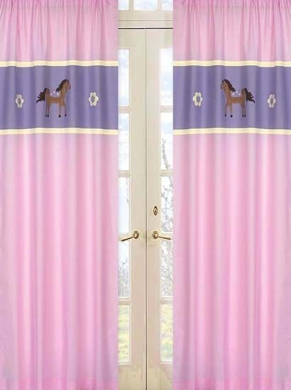 Pretty Pink Horse Window Treatment Curtains by Sweet Jojo Designs