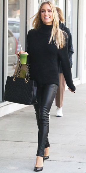Kristin Cavallari's Fun & Fearless Bump Style   BUSINESS CHIC   Leather maternity pants? Yes, please! Cavallari pairs her all-black ensemble with a superchic blush blazer on Feb. 18 in Las Vegas, where she launched her new shoe line, Kristin Cavallari by Chinese Laundry.