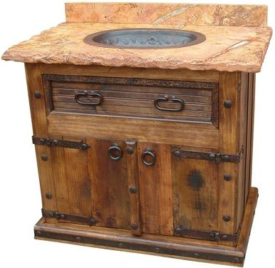 Pueblito Sink Cabinet W Full Marble Top Modern Rustic Furniture Painting Wooden Furniture Western Furniture