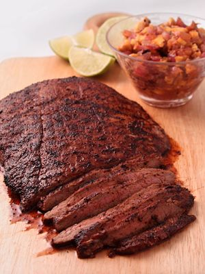 Rick Bayless | Grilled Flank Steak with Chipotle Caramelized Onions | Frontera