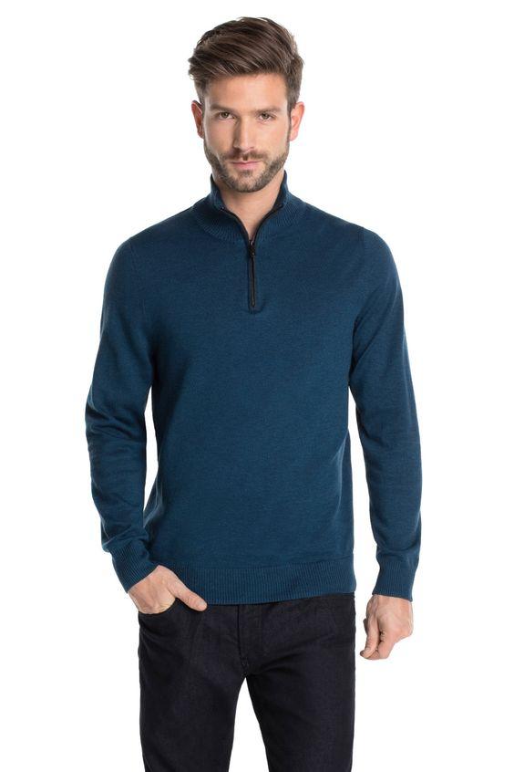 Esprit : Jersey troyer + cremallera, 100% algodón en la Online-Shop